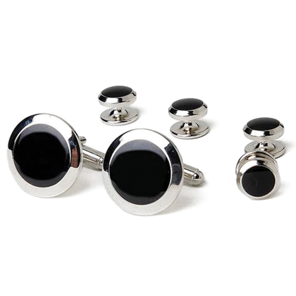 SILVER AND BLACK STUDS AND CUFFLINKS SET