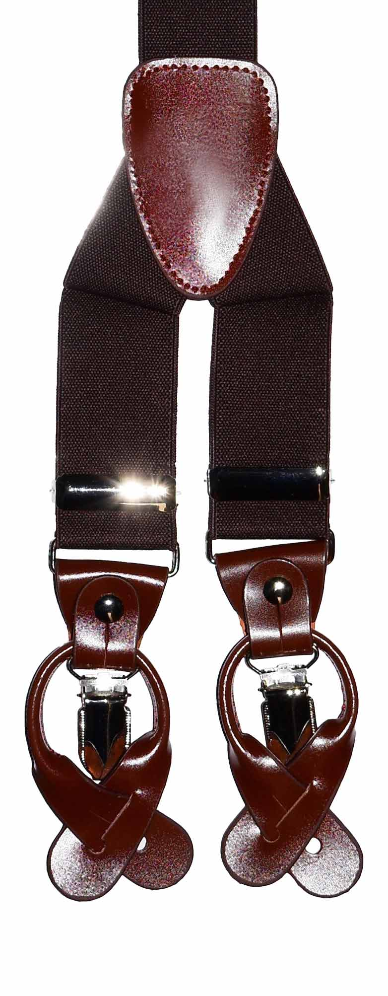 Use either clips or suspender buttons!
