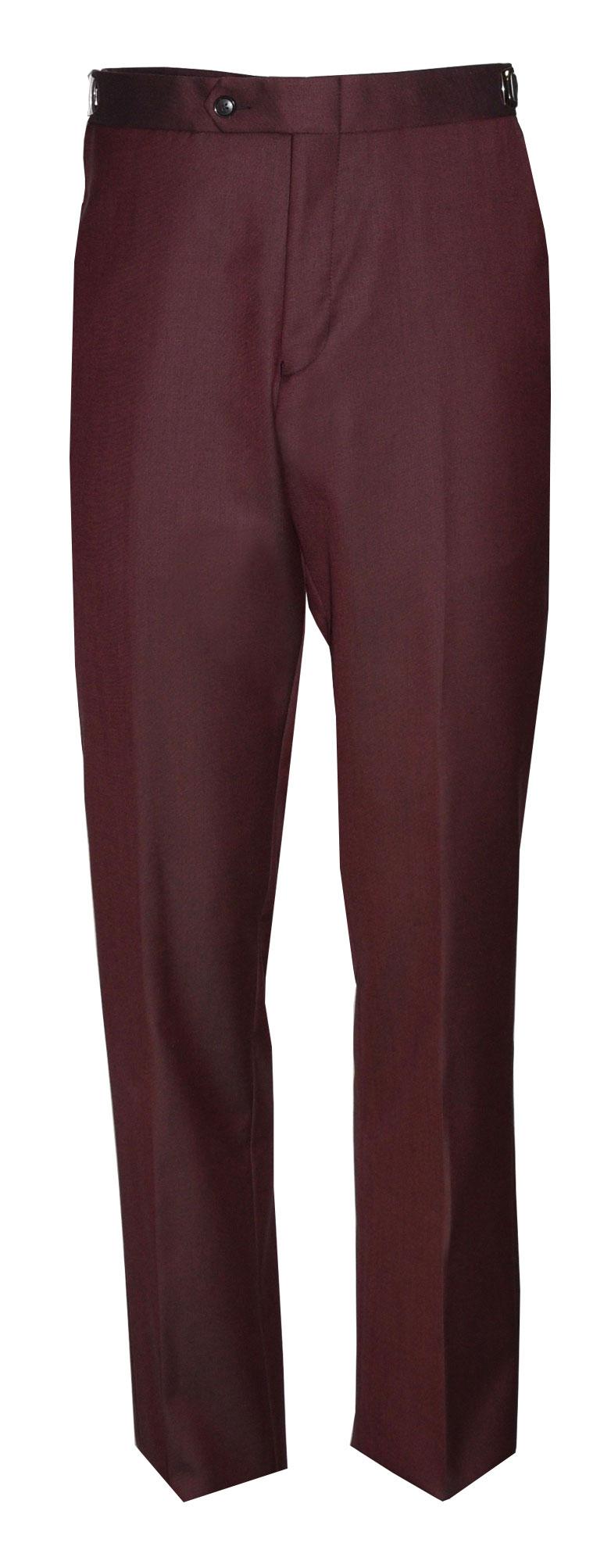 Tailored Fit Burgundy Tuxedo Pants