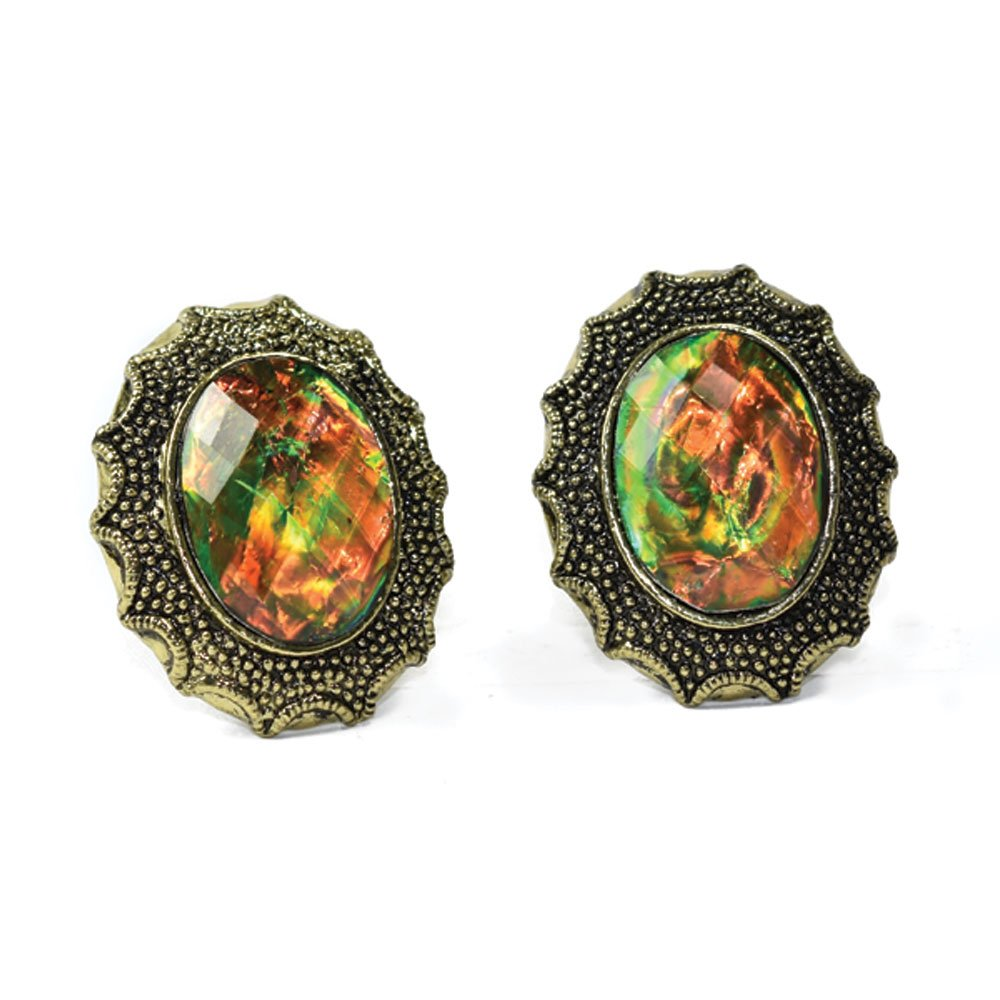 Amber and Green Larger Bling Cufflinks