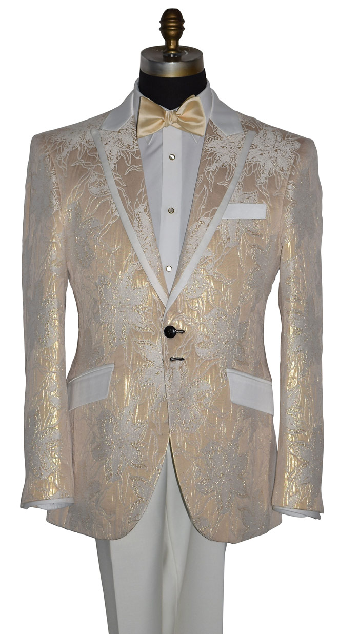 CHAMPAGNE BROCADE TUXEDO COAT ONLY