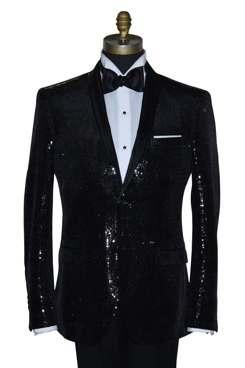 Black Sequins Tuxedo Coat Only