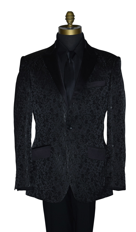 Black Brocade Tuxedo Jacket Only
