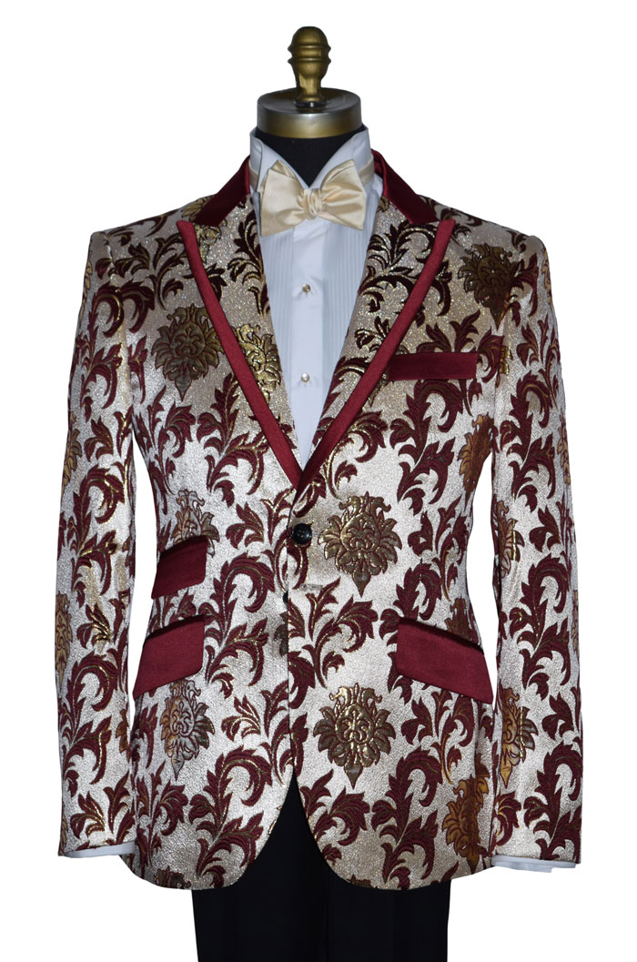 CHAMPAGNE TUXEDO WITH BURGUNDY AND GOLD BROCADE - COAT ONLY