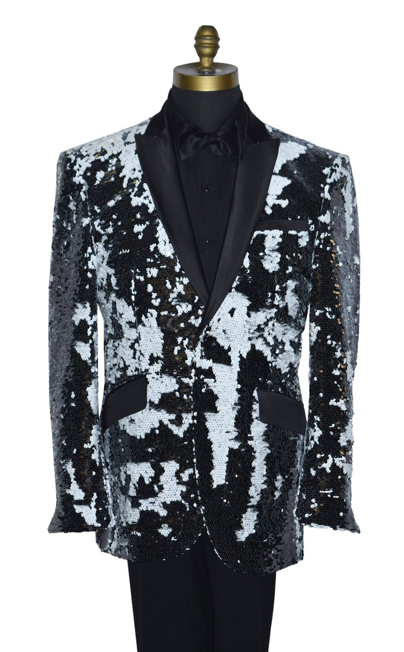 Black and White Deluxe Sequins Tuxedo Coat Only