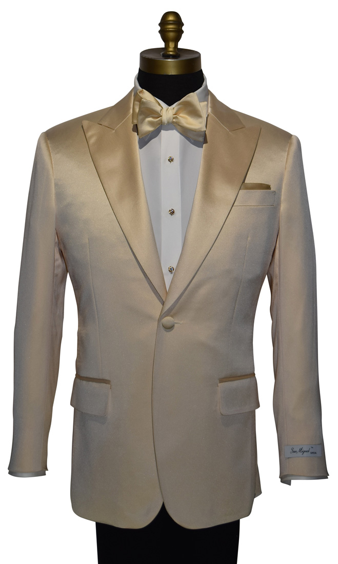Champagne Satin Colored, Peak Lapel Italian Cut Tuxedo Jacket Only