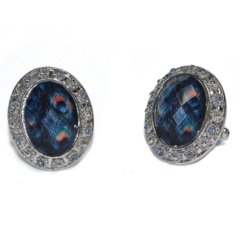 Peacock Blue Bling Cufflinks