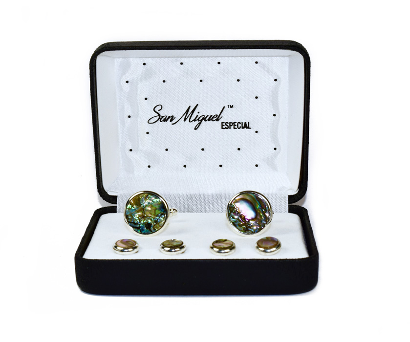 ABALONE CUFFLINKS AND STUDS IN GOLD SETTING