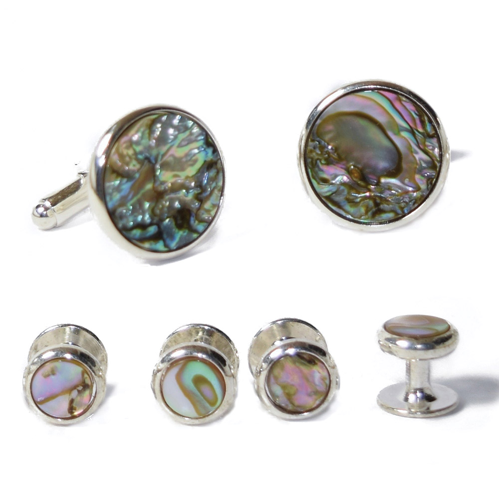 ABALONE CUFFLINKS AND STUDS IN SILVER SETTING