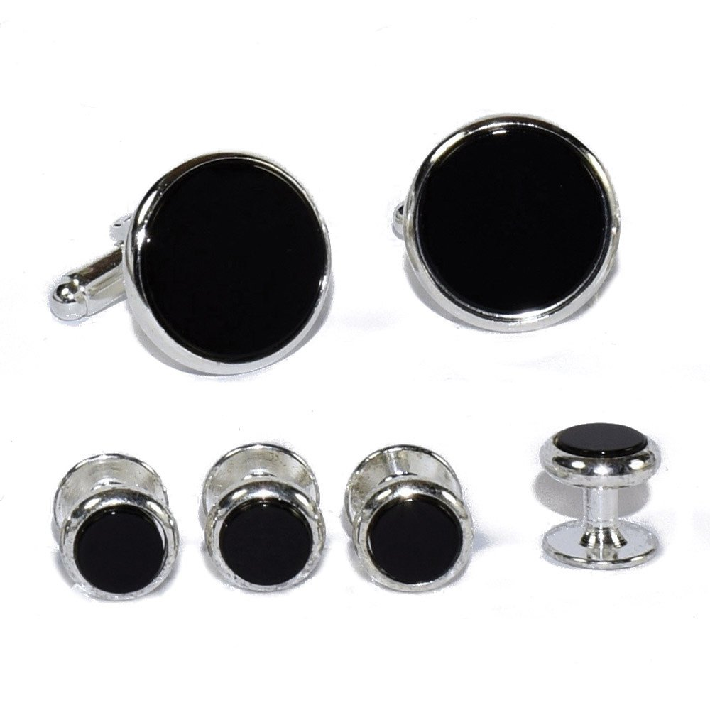 CLASSIC ONYX CUFFLINKS AND STUDS IN SILVER SETTING