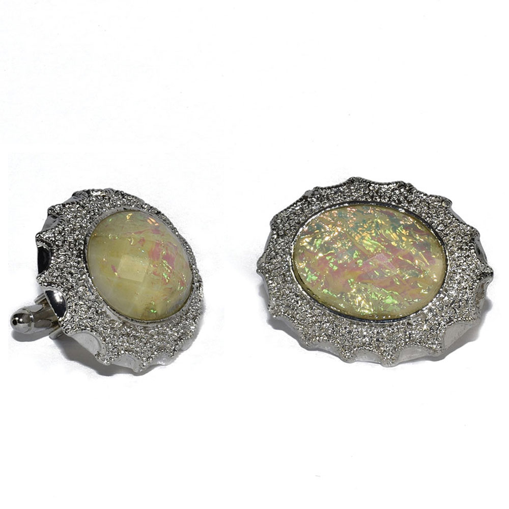 PEARLIZED CUFFLINKS IN SILVER SETTING