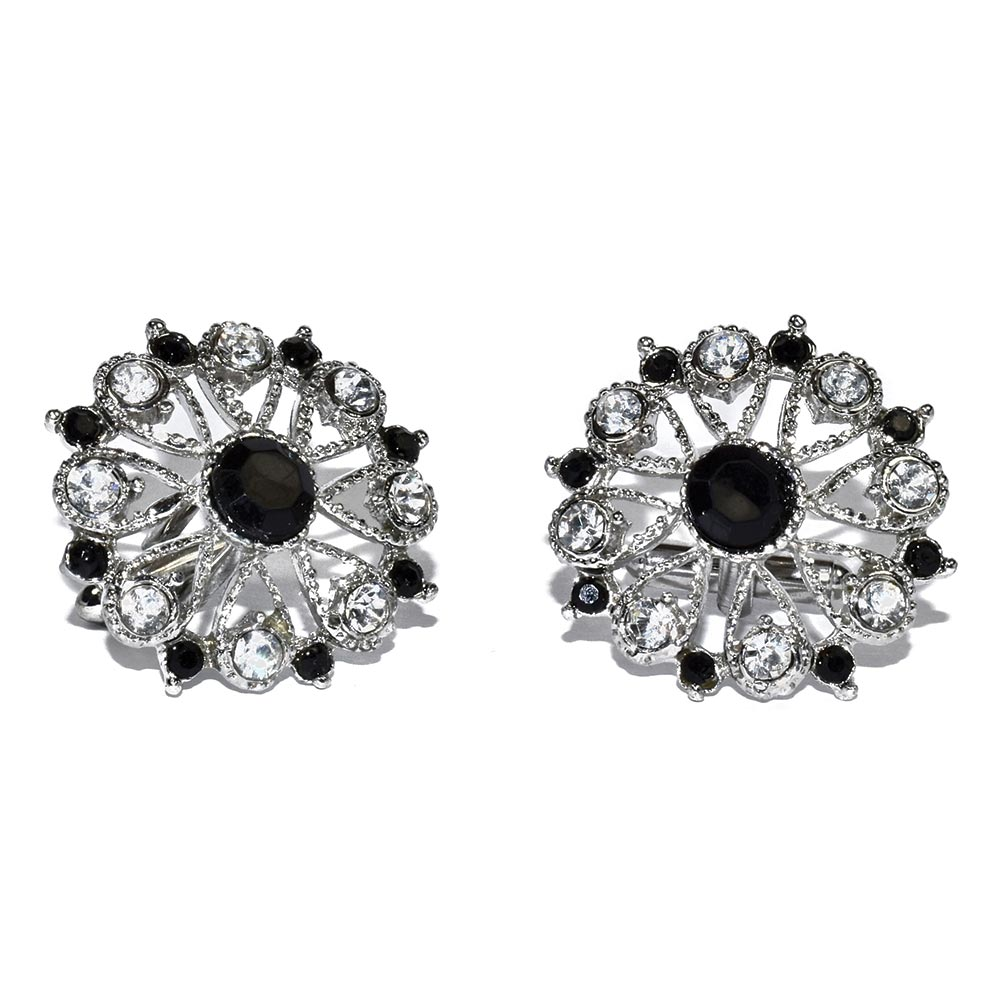 BLACK AND CRYSTAL CUFFLINKS IN SILVER FINISH