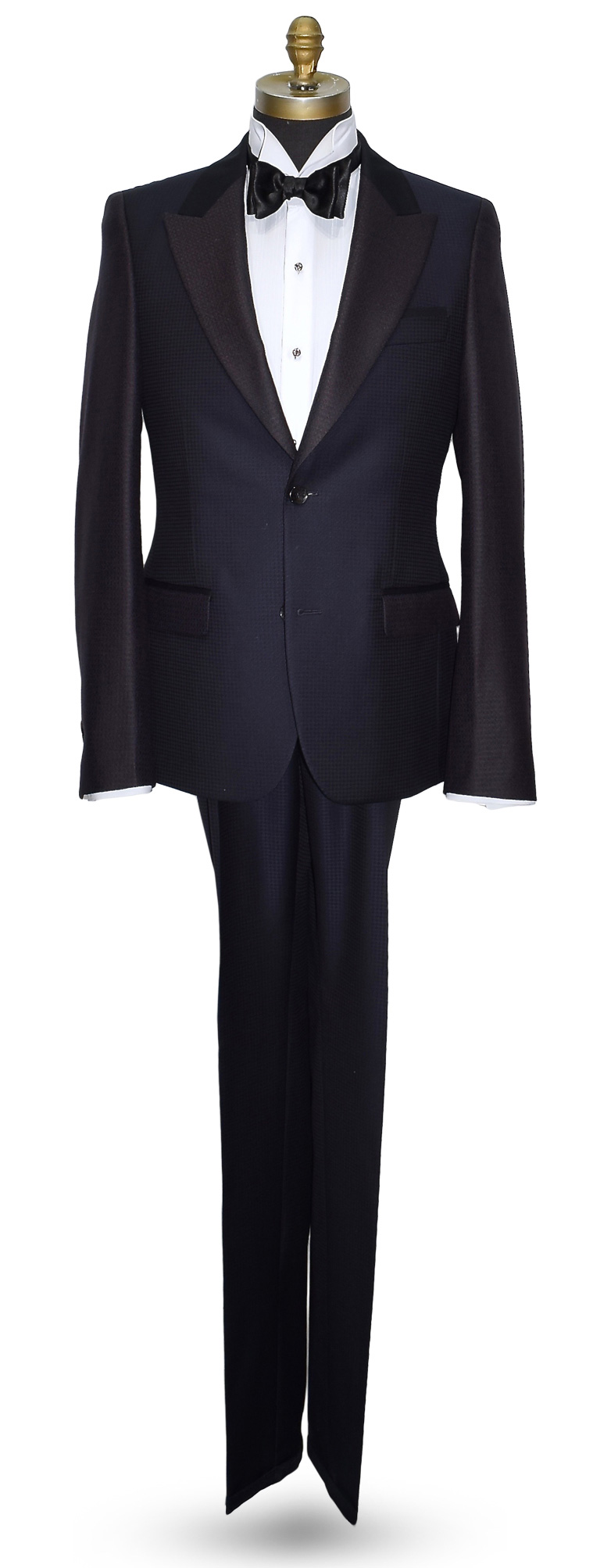 Blue Peak Lapel Tuxedo Ultra Slim Fit Coat and Pants Set with Contrasting Fabric
