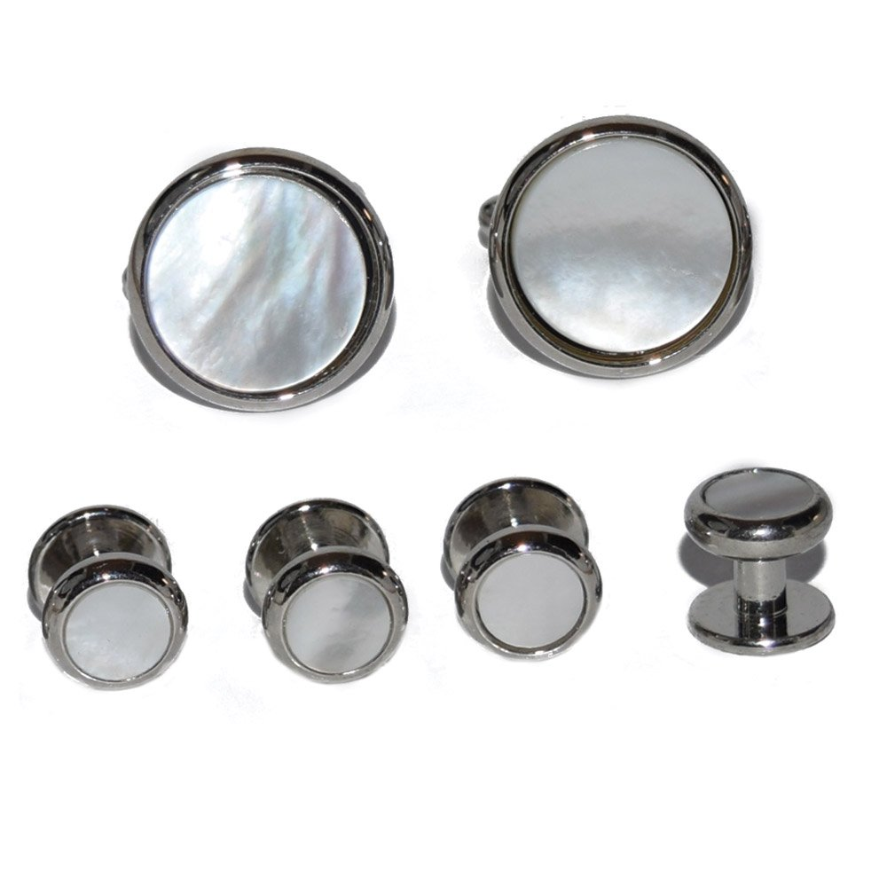 MOTHER OF PEARL CUFFLINKS AND STUDS IN SILVER SETTING