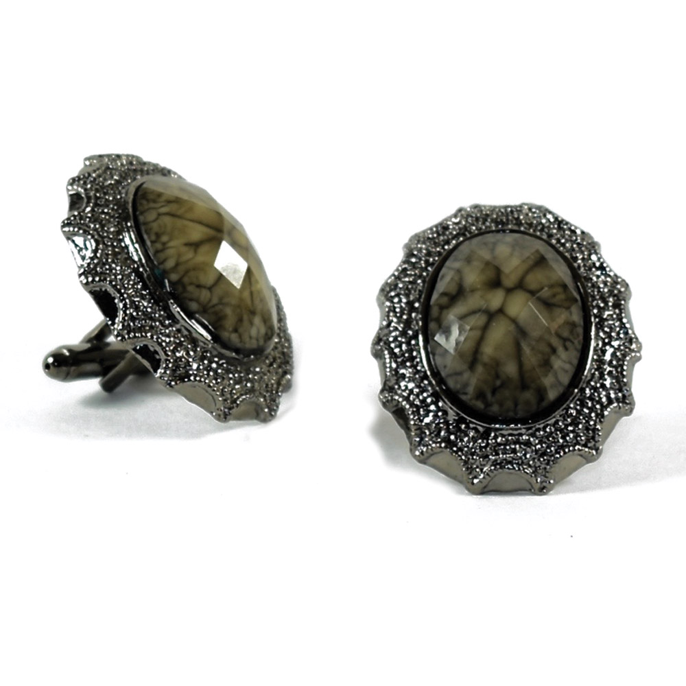 STONE COLORED BLING CUFFLINKS