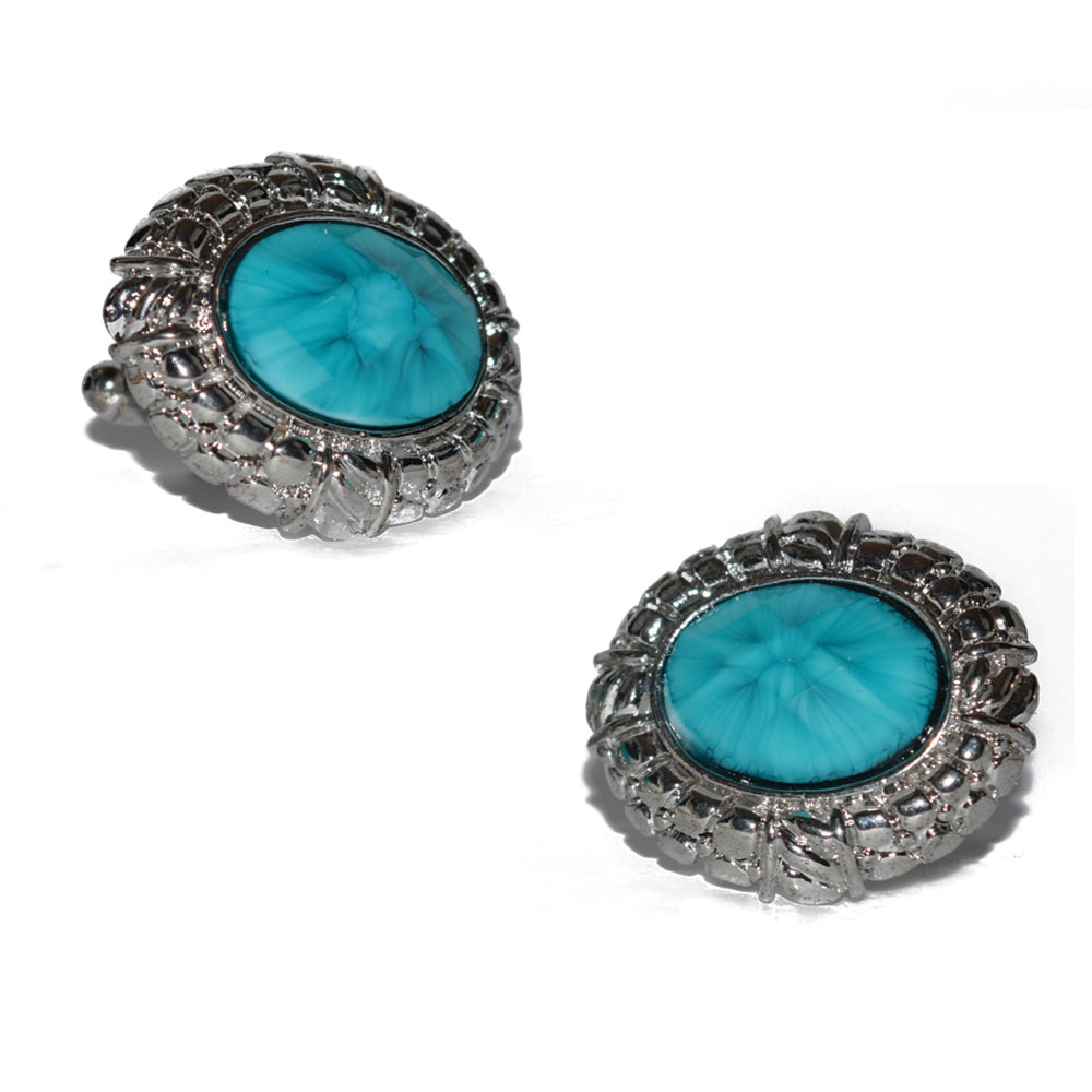 TURQUOISE COLORED BLING CUFFLINKS