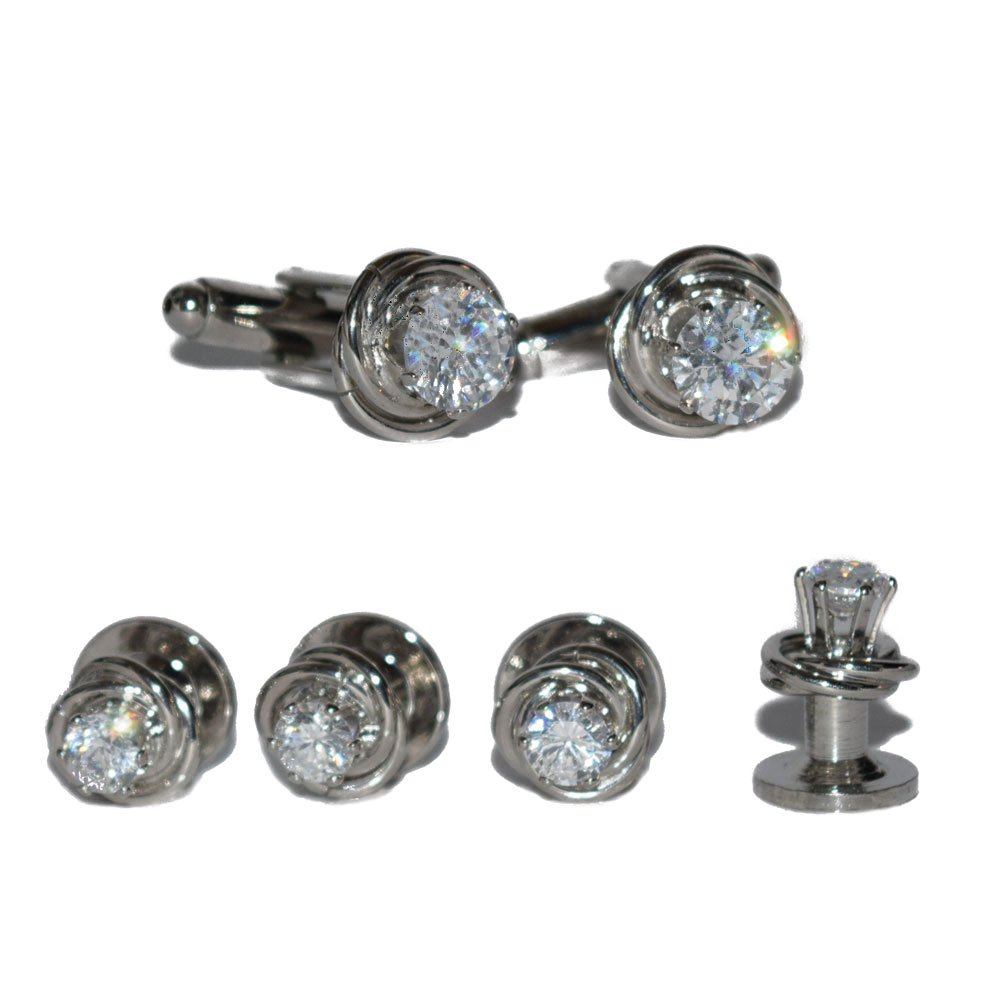 CUBIC ZIRCONIUM CUFFLINKS AND STUDS SET IN SILVER FINISH