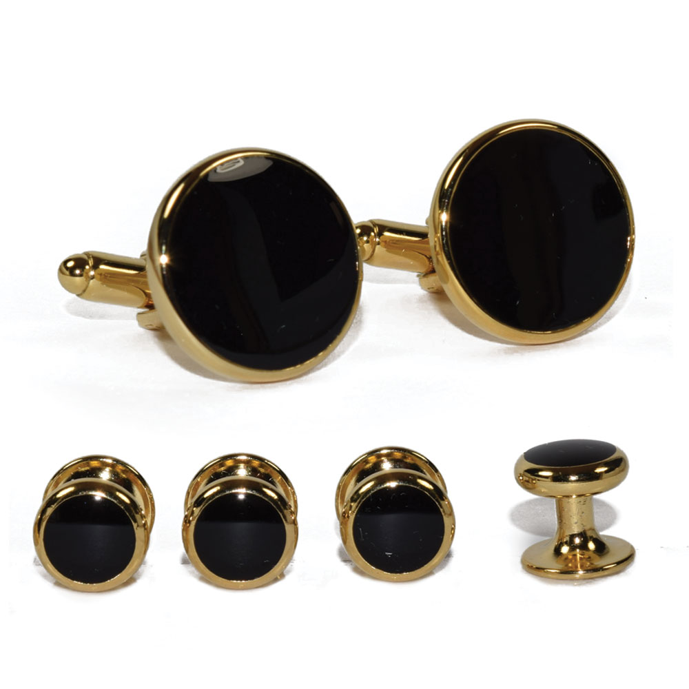 CLASSIC BLACK CUFFLINKS AND STUDS IN GOLD FINISH SETTING