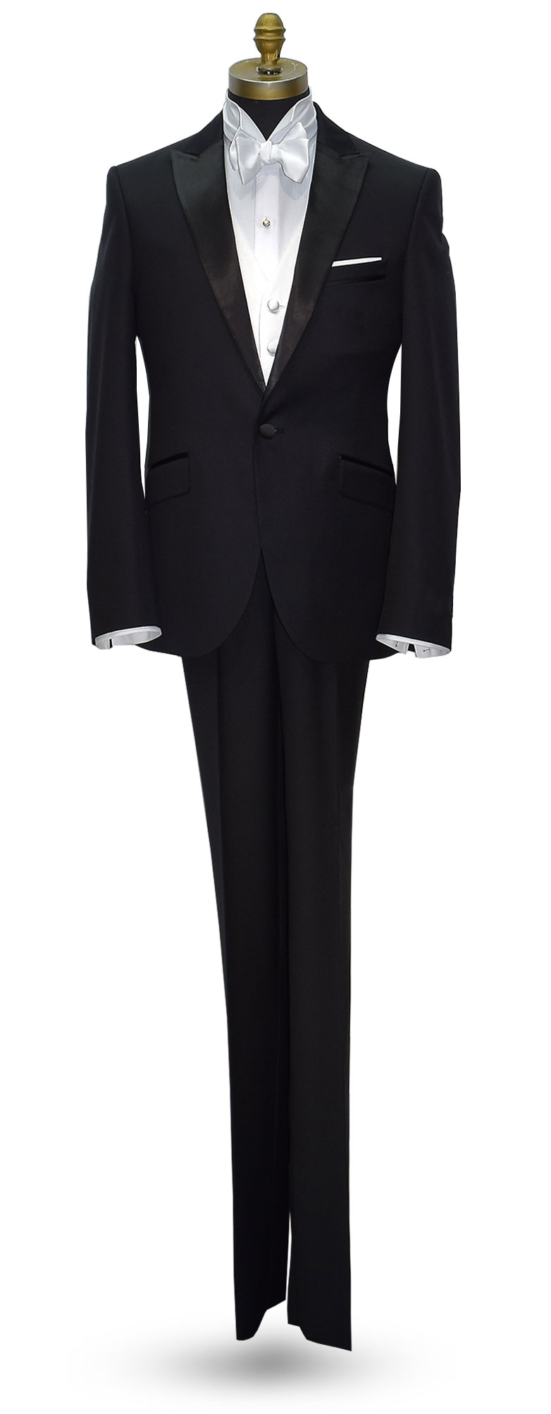 BLACK MEN'S PEAK LAPEL ULTRA SLIM FIT TUXEDO - COAT AND PANTS SET