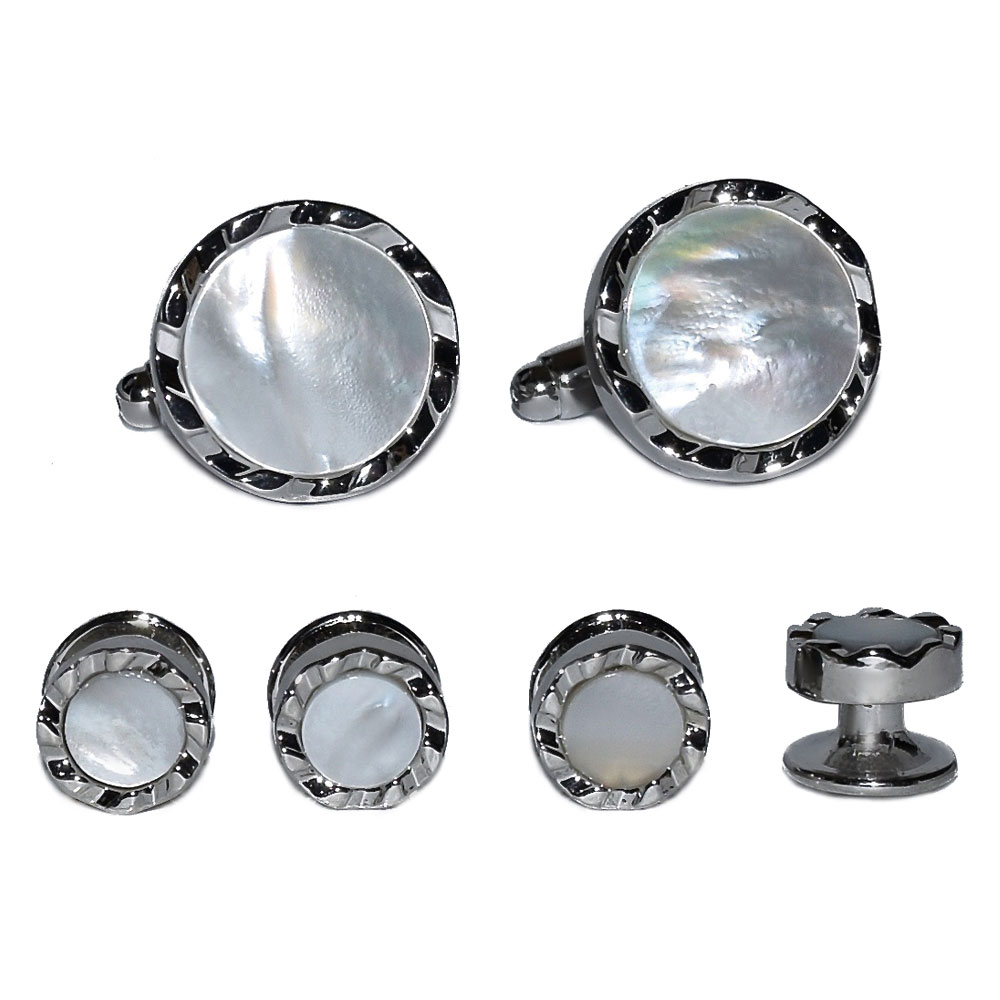 MOTHER OF PEARL CUFFLINKS AND STUDS FULL SET, CHISEL CUT EDGE, IN SILVER CASTLE CUT FINISH