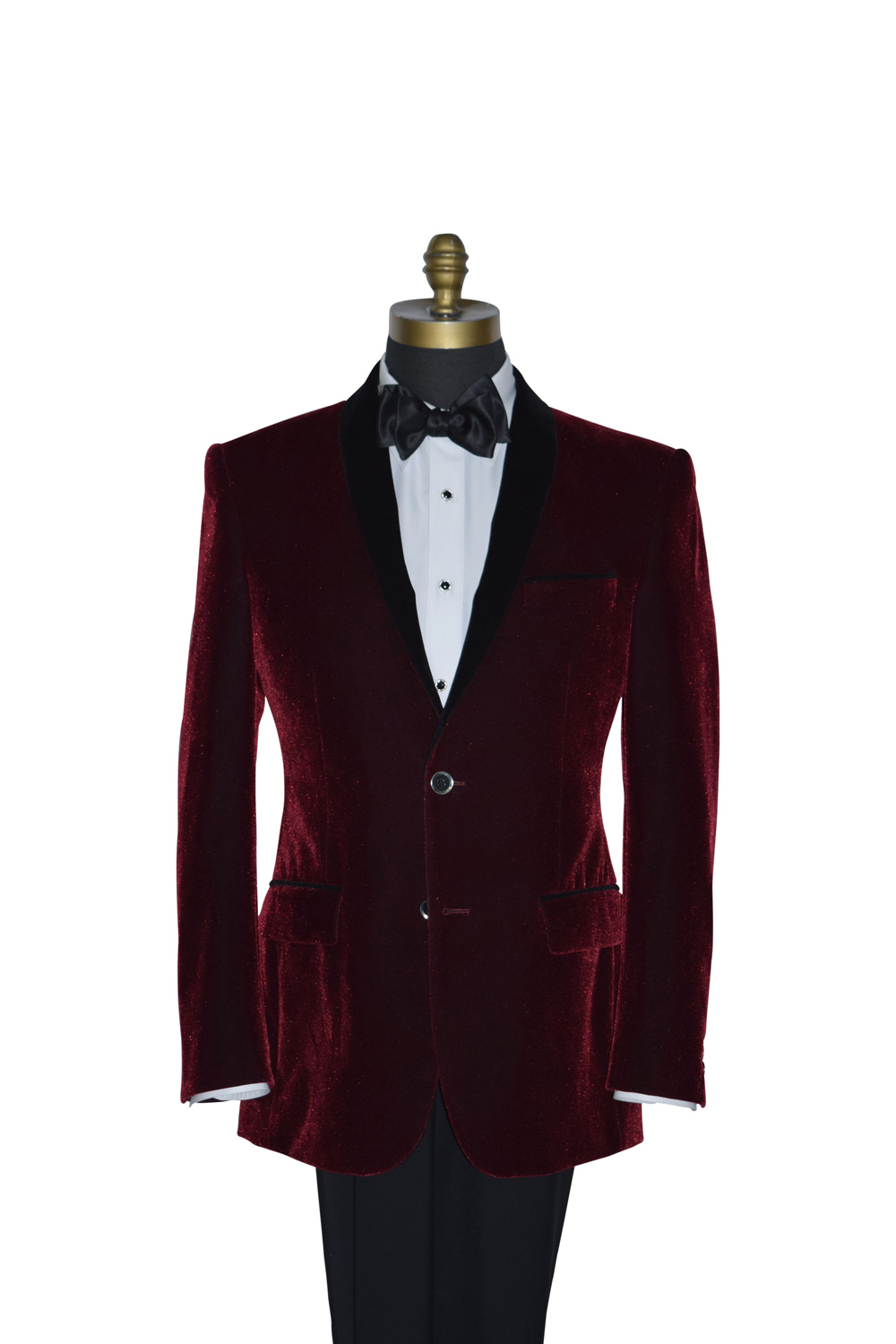 Bordeaux Velvet Shawl Collar Dinner Jacket