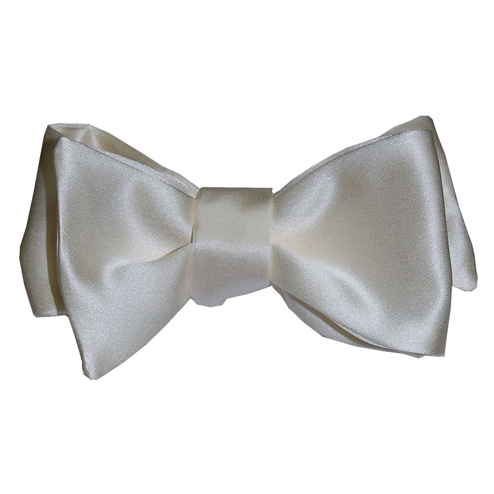 Ivory Satin Bowtie, Tie-Yourself