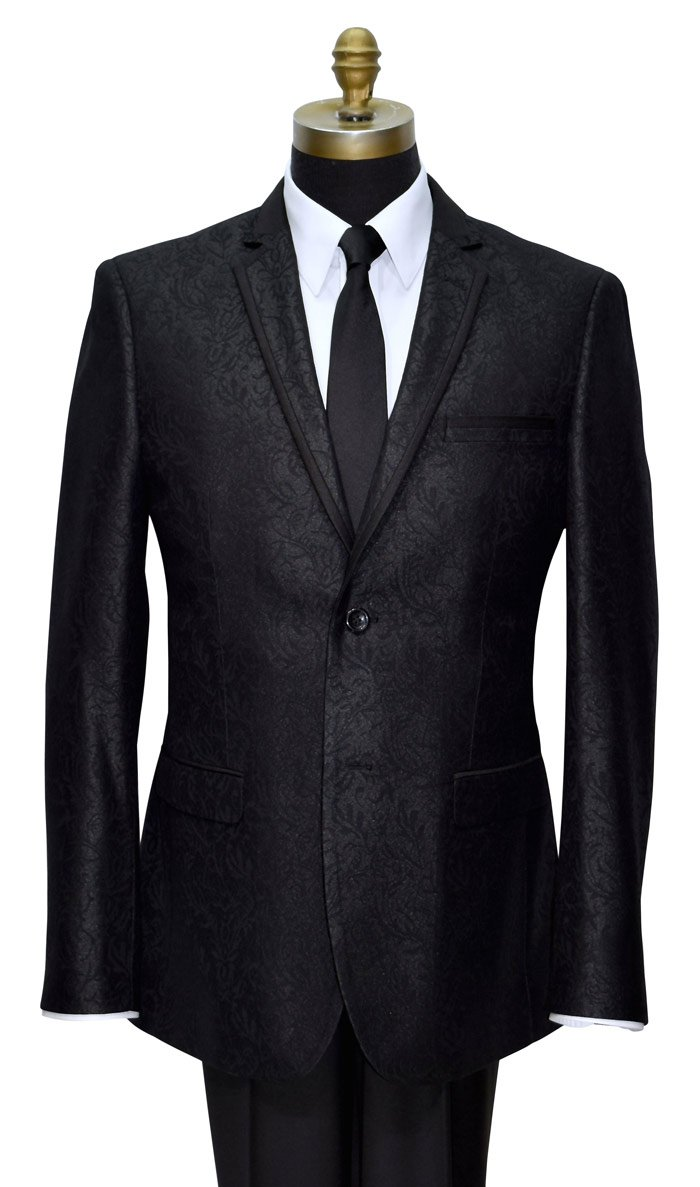 Black Brocade Tuxedo Jacket Only