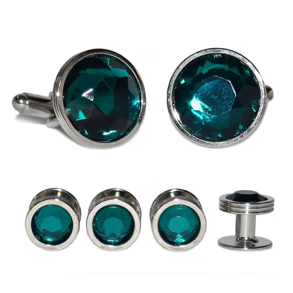 EMERALD GREEN CUFFLINKS AND STUDS IN SILVER SETTING