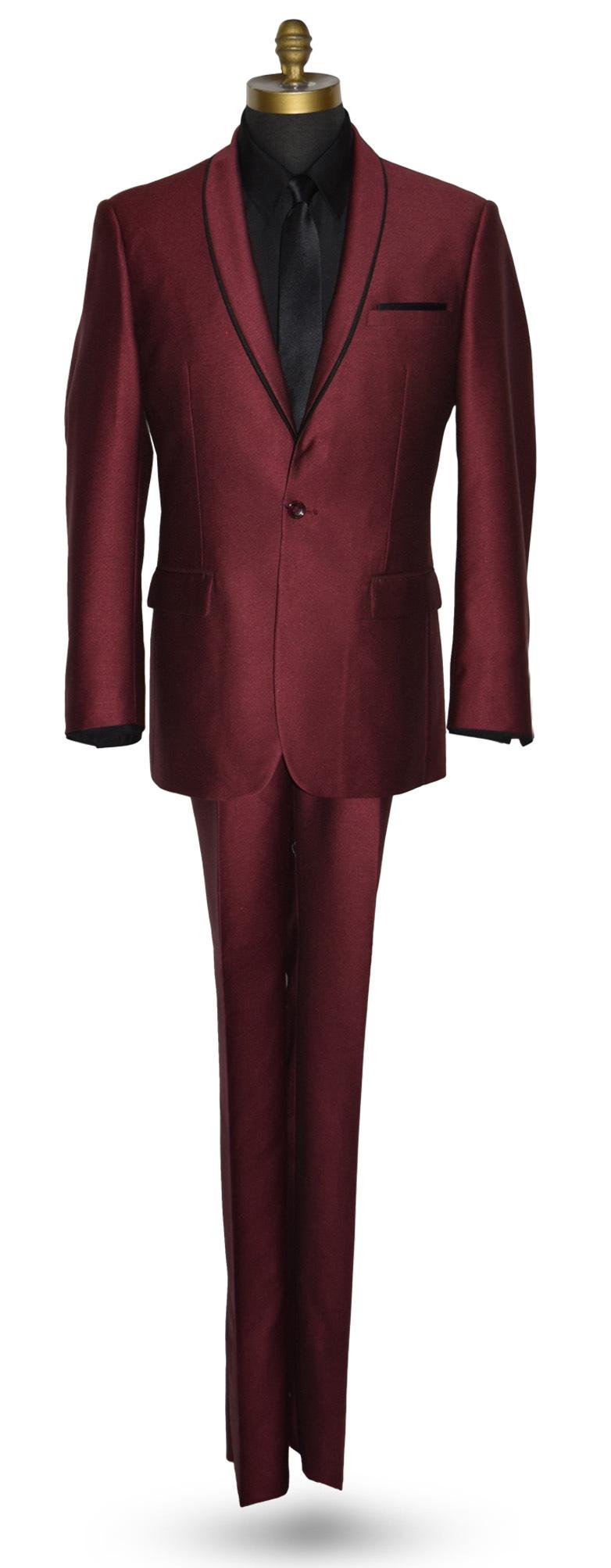 Burgundy Tuxedo Coat and Pants Set