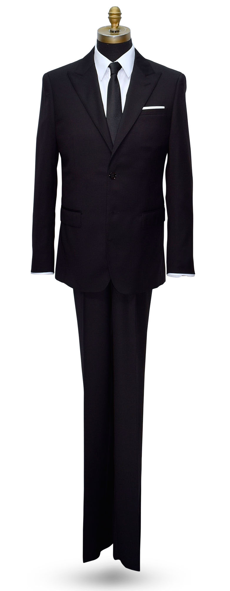 BLACK 2 PIECE MENS SUIT 100% LUXURY WOOL