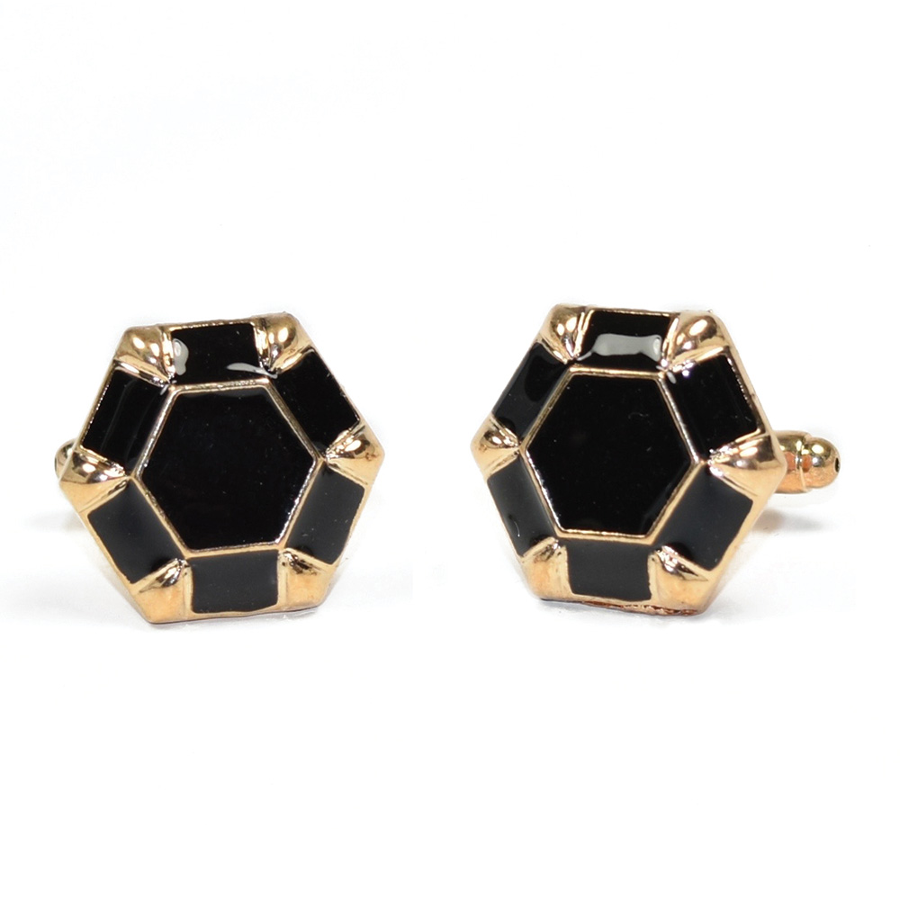 BLACK CUFFLINKS IN GOLD FINISH