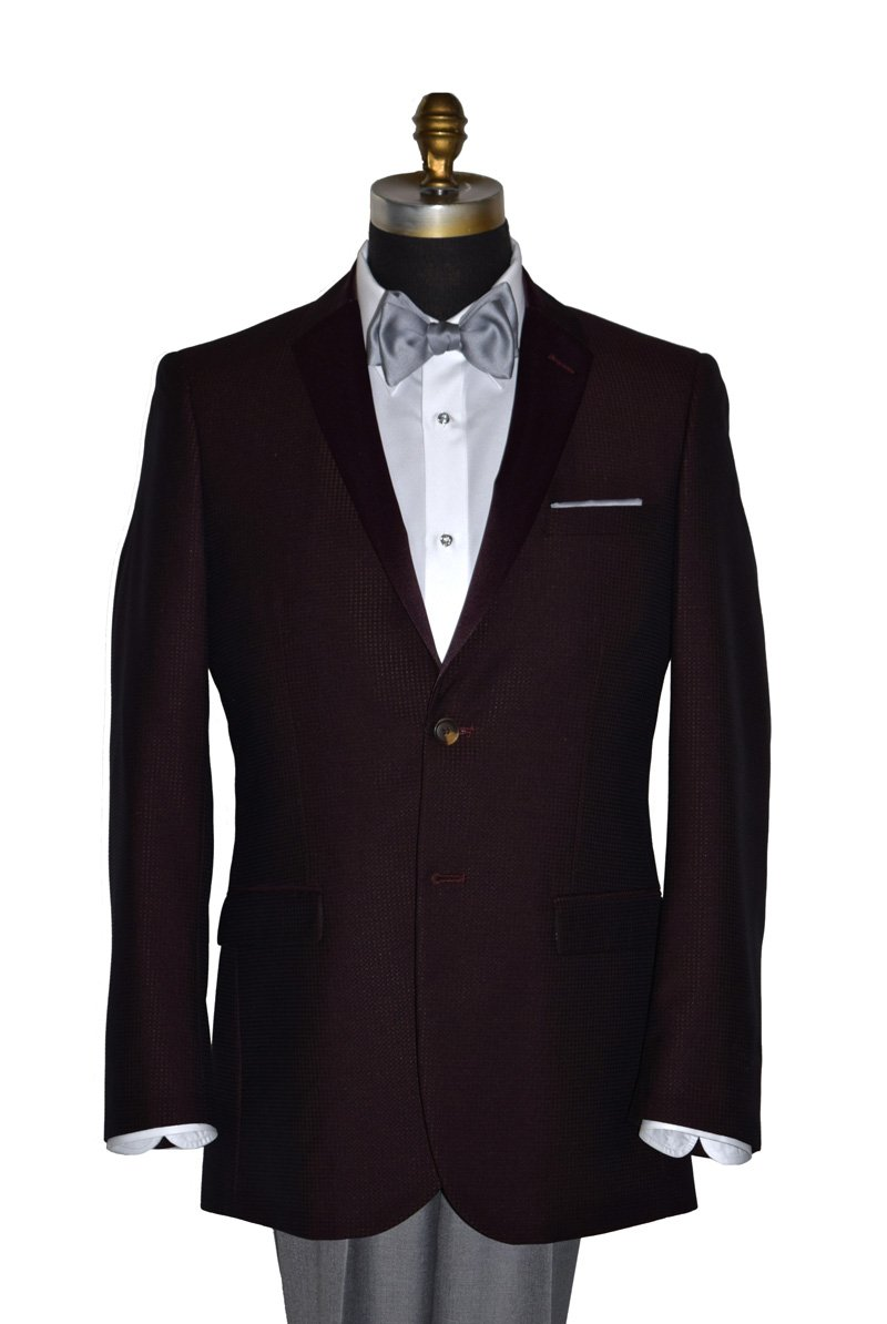 Burgundy Tuxedo with Burgundy Satin Lapel-Coat Only