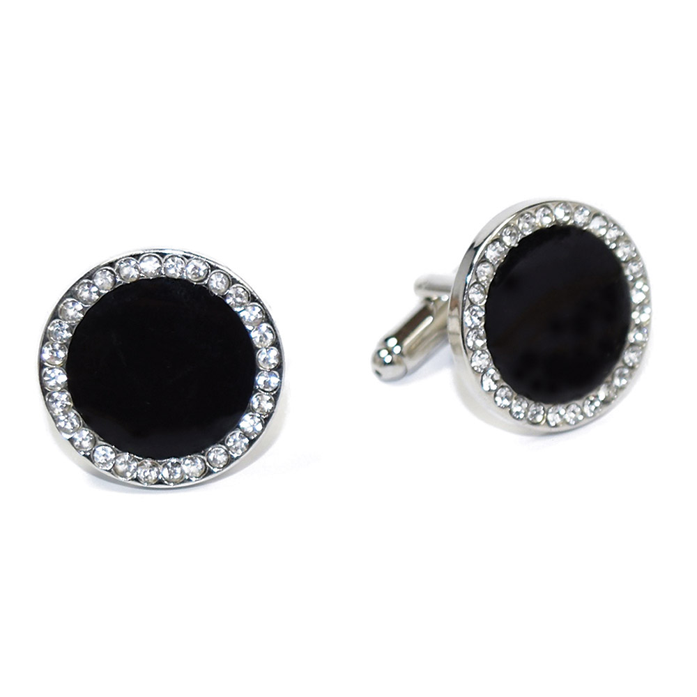 BLACK CUFFLINKS WITH CRYSTALS IN SILVER SETTING