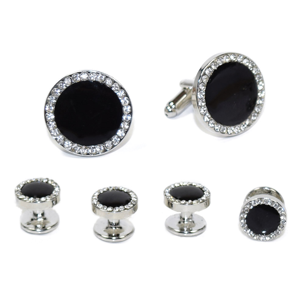 BLACK CUFFLINKS AND STUD SET WITH CRYSTALS FULL SET