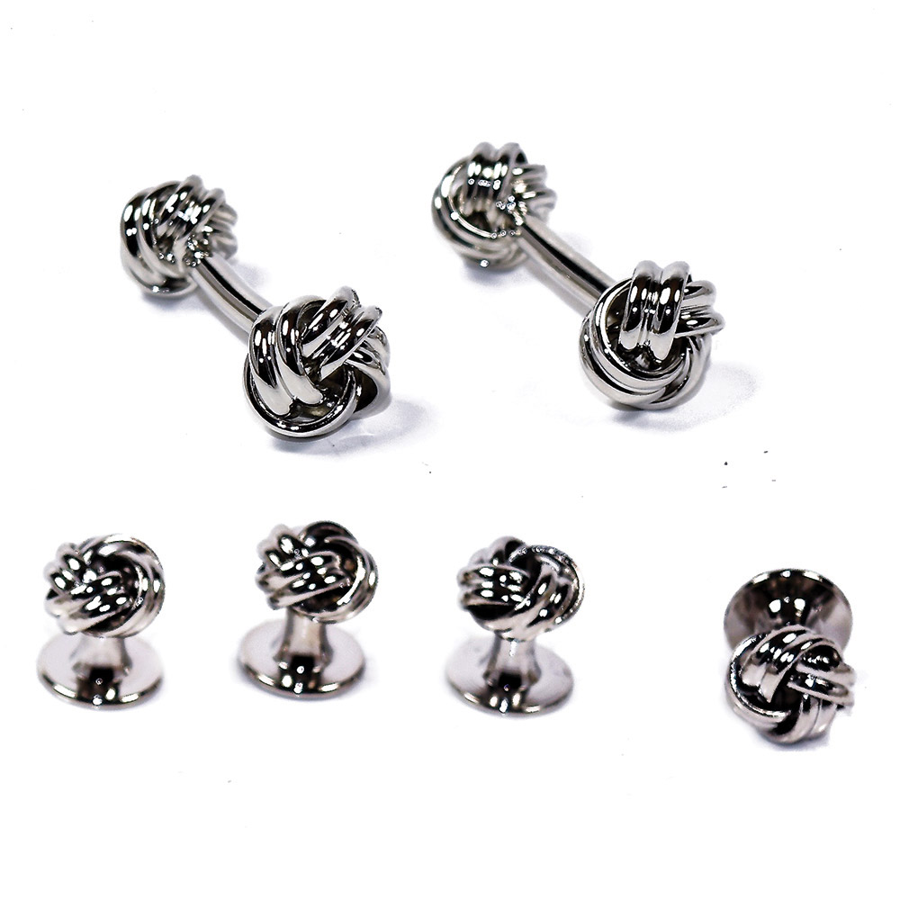 SILVER ROPE LOVE KNOT CUFFLINKS AND STUDS FULL SET