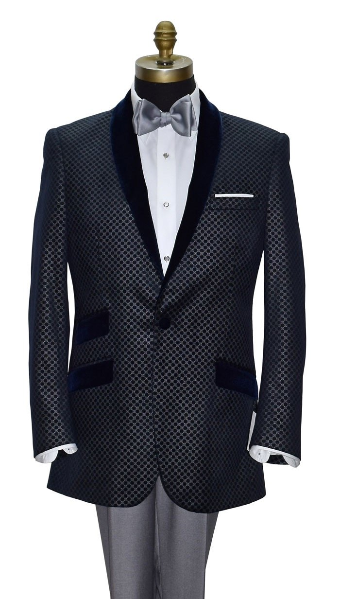 Blue Velvet Shawl Collar Tuxedo Jacket Only