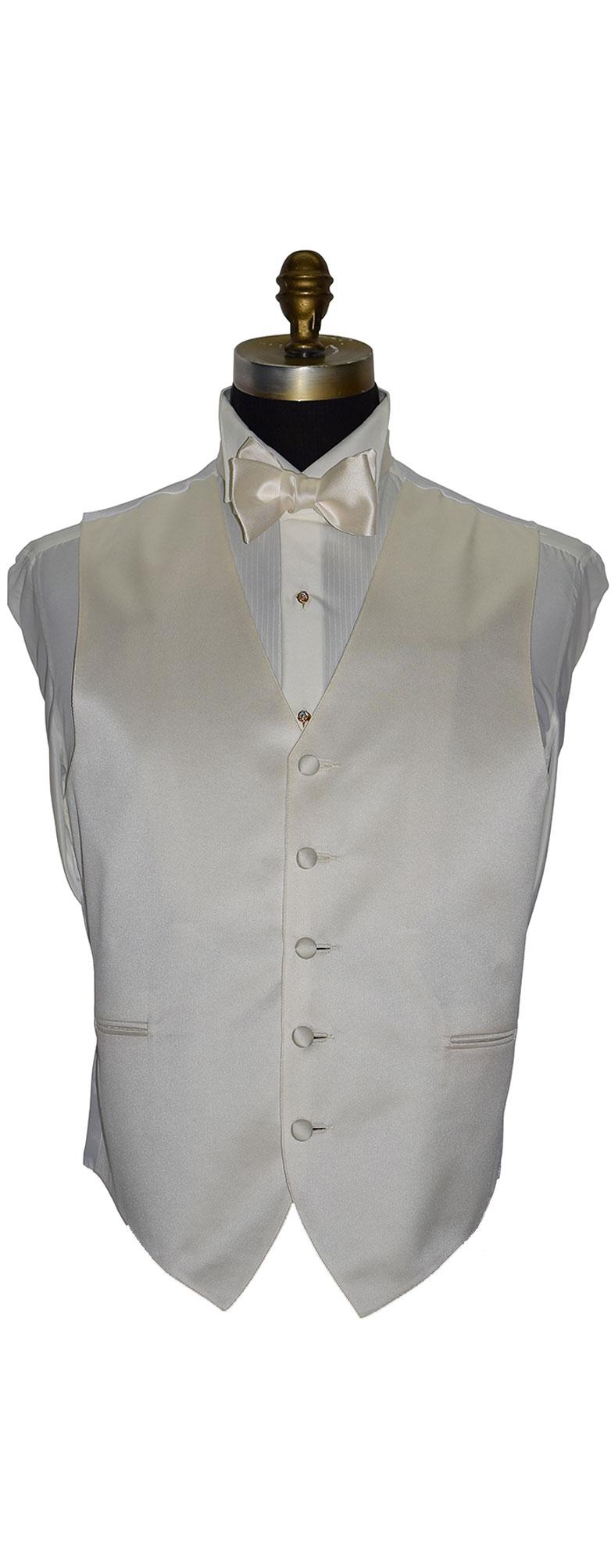 Ivory Off White Satin Tuxedo Vest