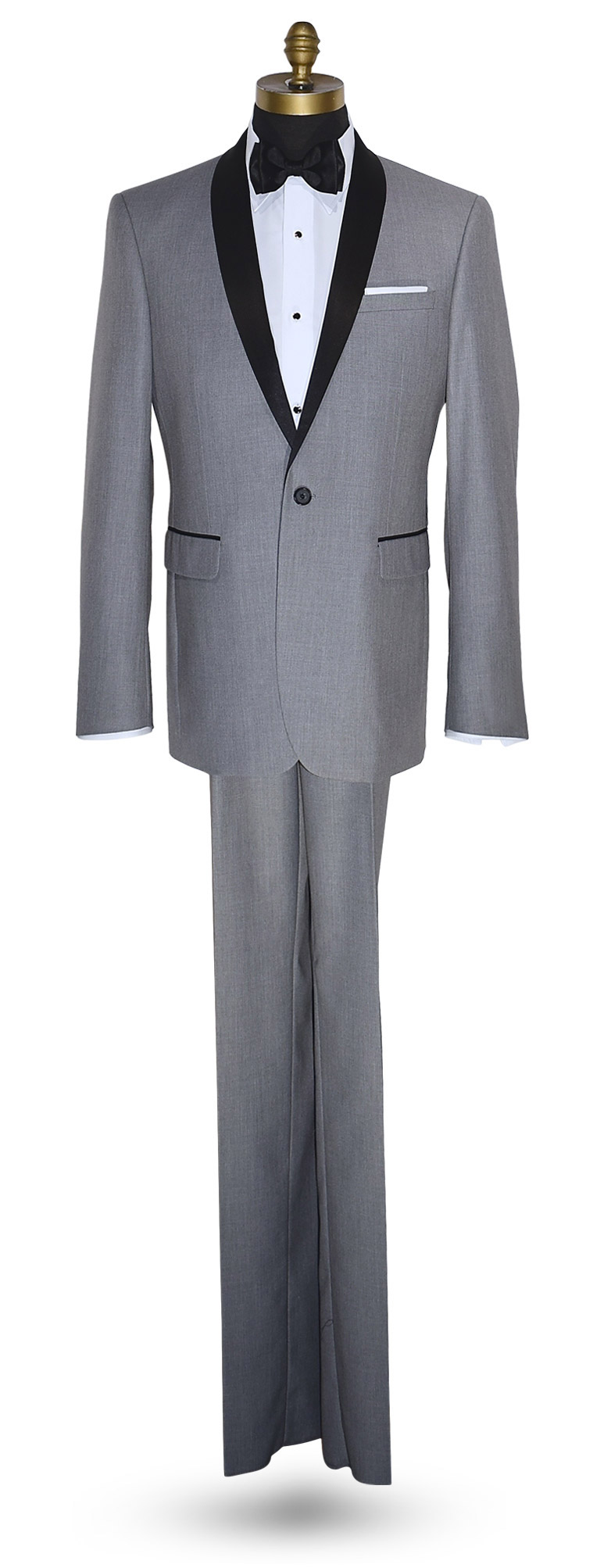 ULTRA SLIM LIGHT GRAY TUXEDO SET - SHAWL COLLAR