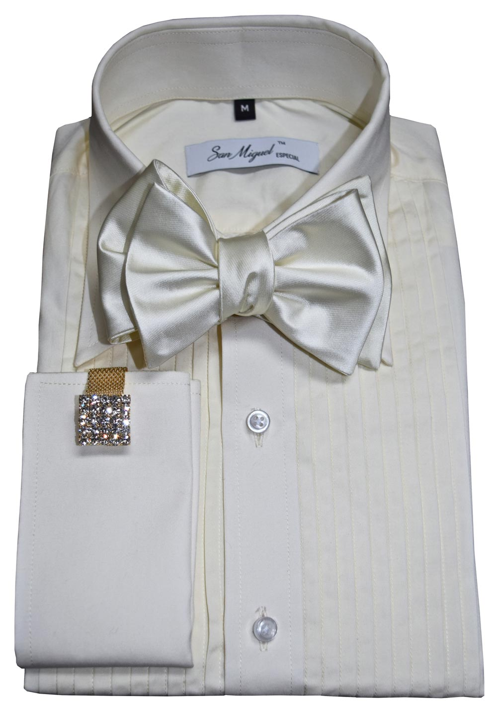 Trim Fit Off-White Tuxedo Shirt - San Miguel