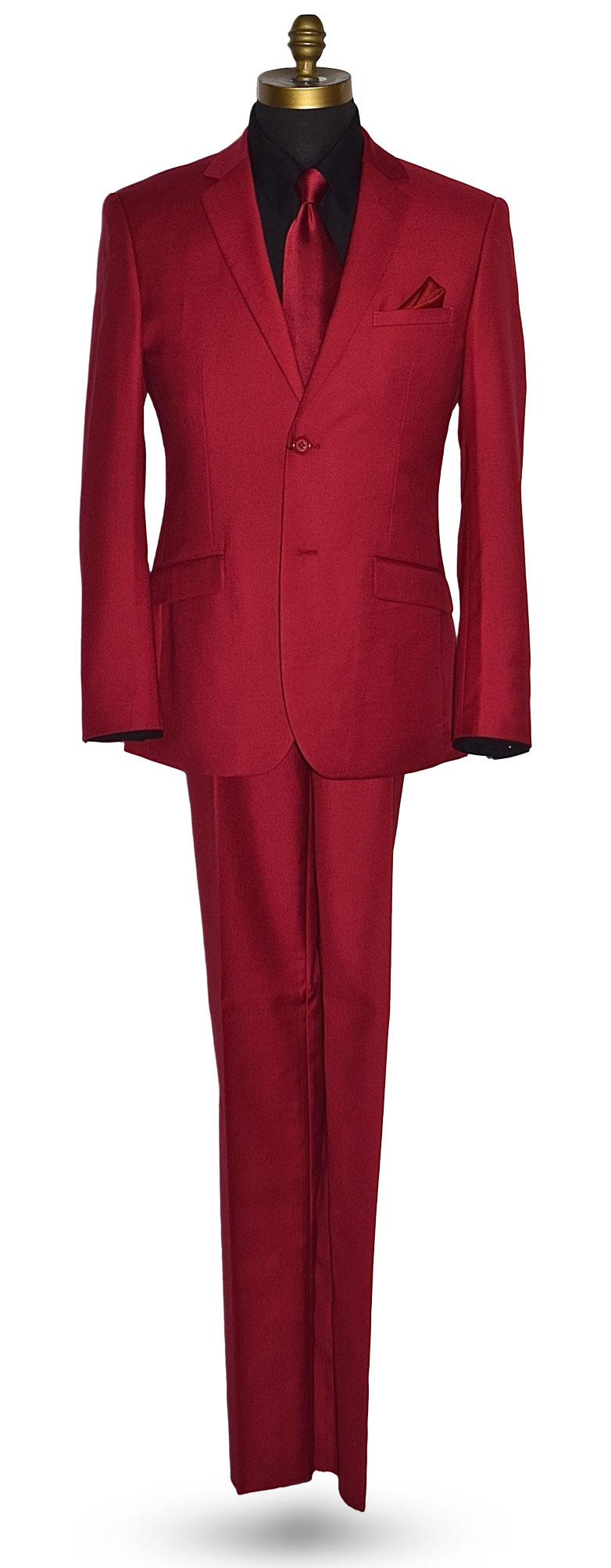 Cardinal Red Mens Suit 3 Piece Coat, Pants and Vest