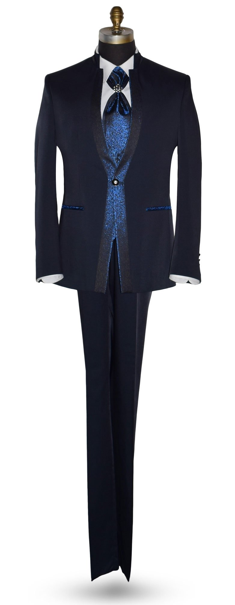 Midnight Blue Nehru Tuxedo Ensemble With Royal Blue Accents