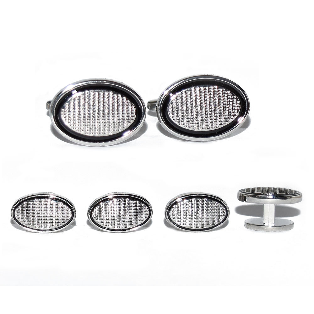 Oval Studs and Cufflinks in Silver Finish
