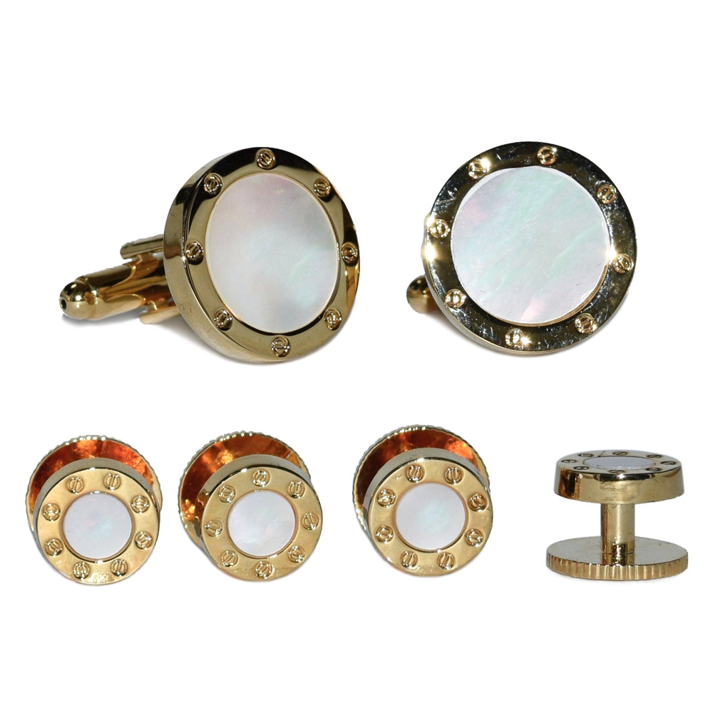 Mother of Pearl Studs and Cufflinks - Gold Finish