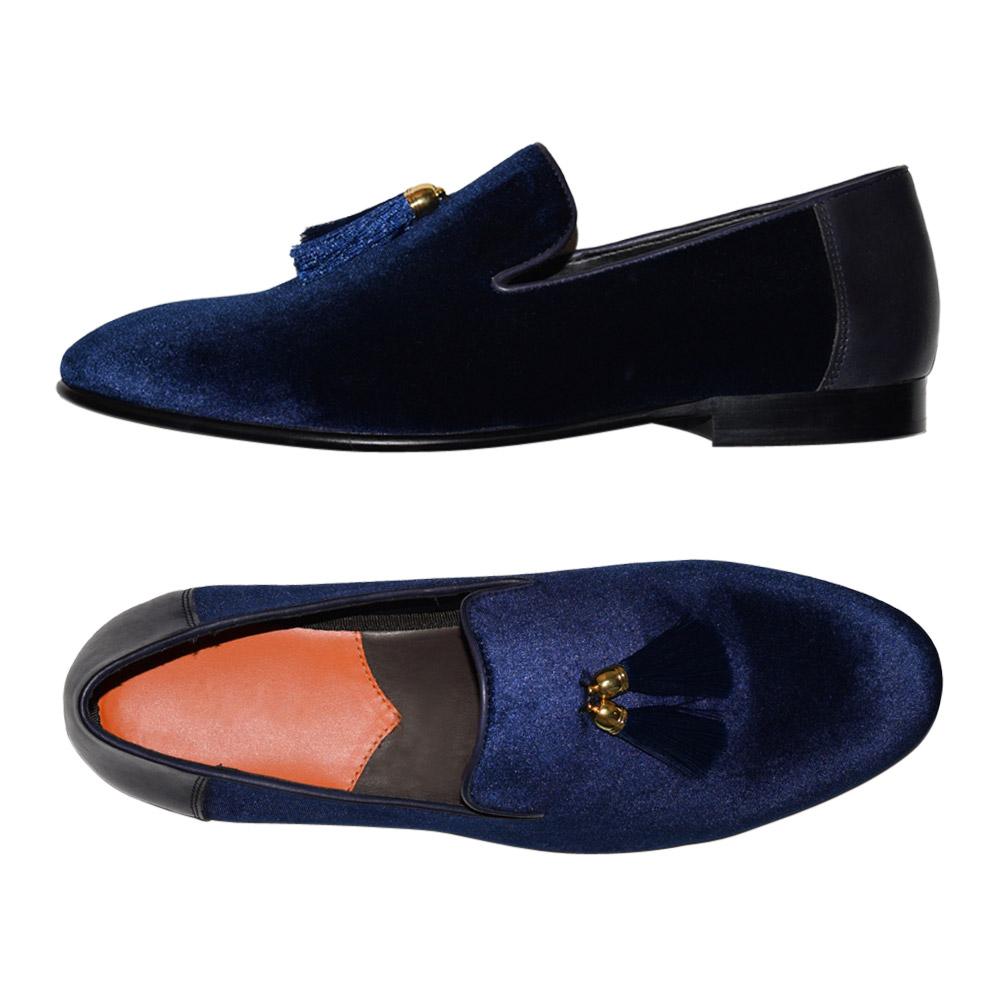 Blue Velvet Tuxedo Slippers