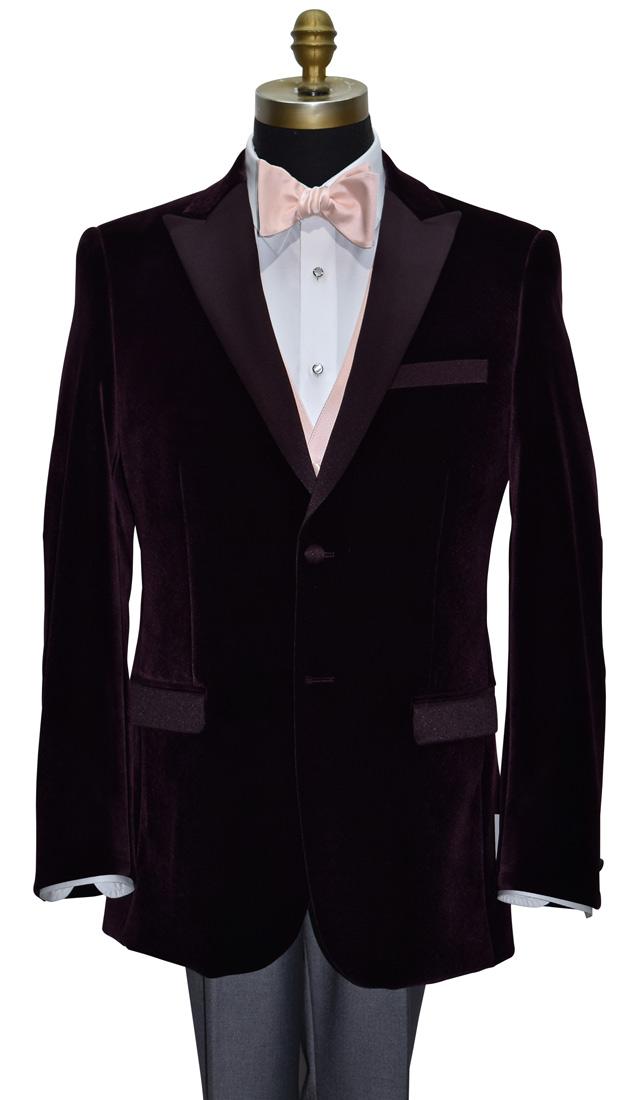 Plum Velvet Tuxedo Coat Only