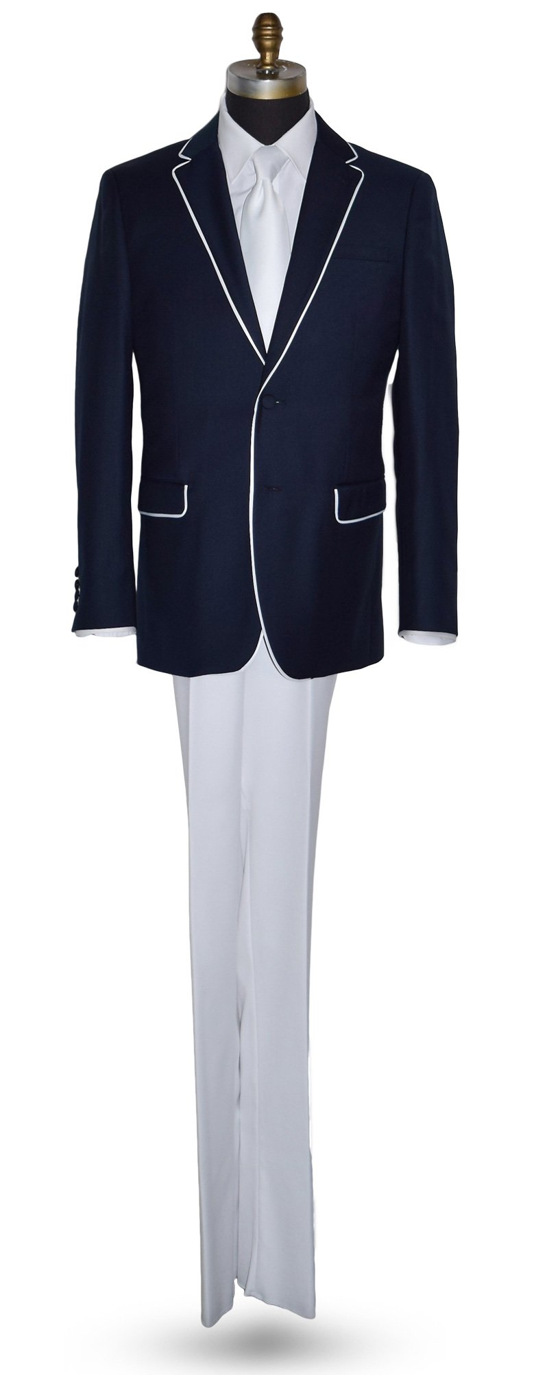 NAVY MENS SUIT COAT WITH WHITE PANTS 100% LUXURY WOOL