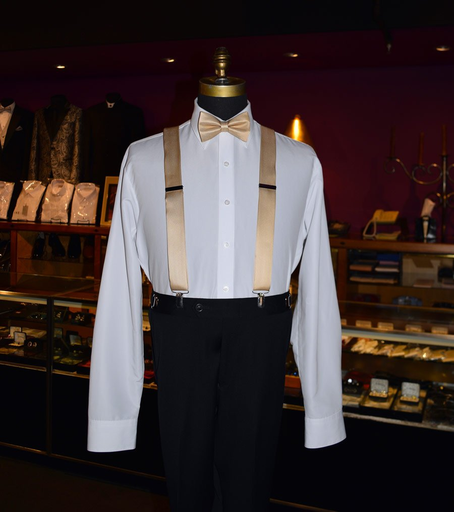 PALE-GOLD SATIN SUSPENDERS - CLIP ON