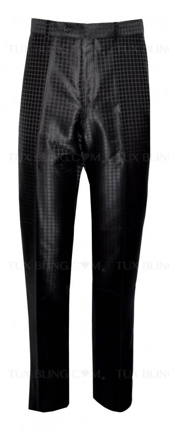 BLACK GEOMETRIC SATIN PANTS