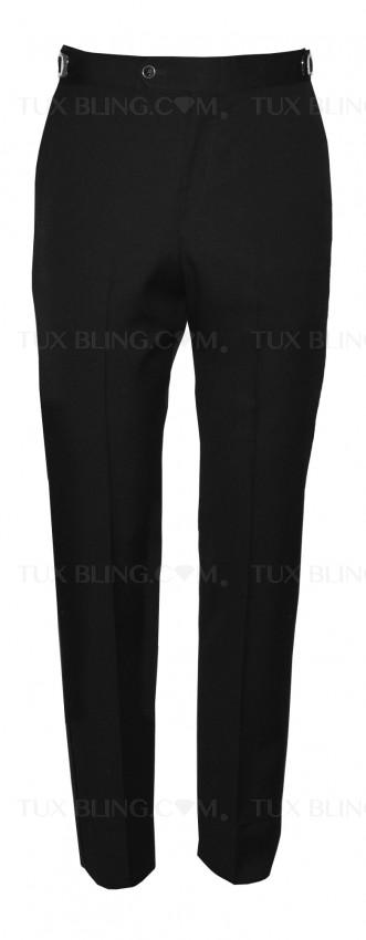 BLACK SUPER 120'S WOOL ULTRA SLIM  FIT TUXEDO PANTS
