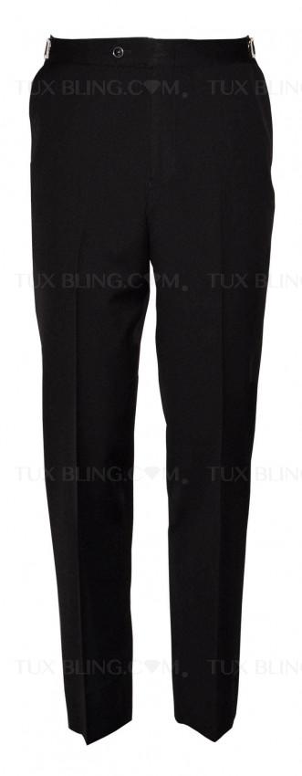 BLACK SUPER 120'S WOOL TAILORED FIT TUXEDO PANTS